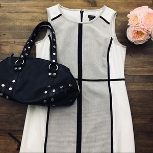 Ann Taylor White Black Sheath Dress Career Sz 12
